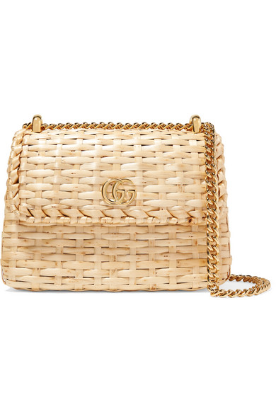 0289955b8b1 Gucci Linea Cestino Mini Leather-Trimmed Wicker Shoulder Bag In Beige