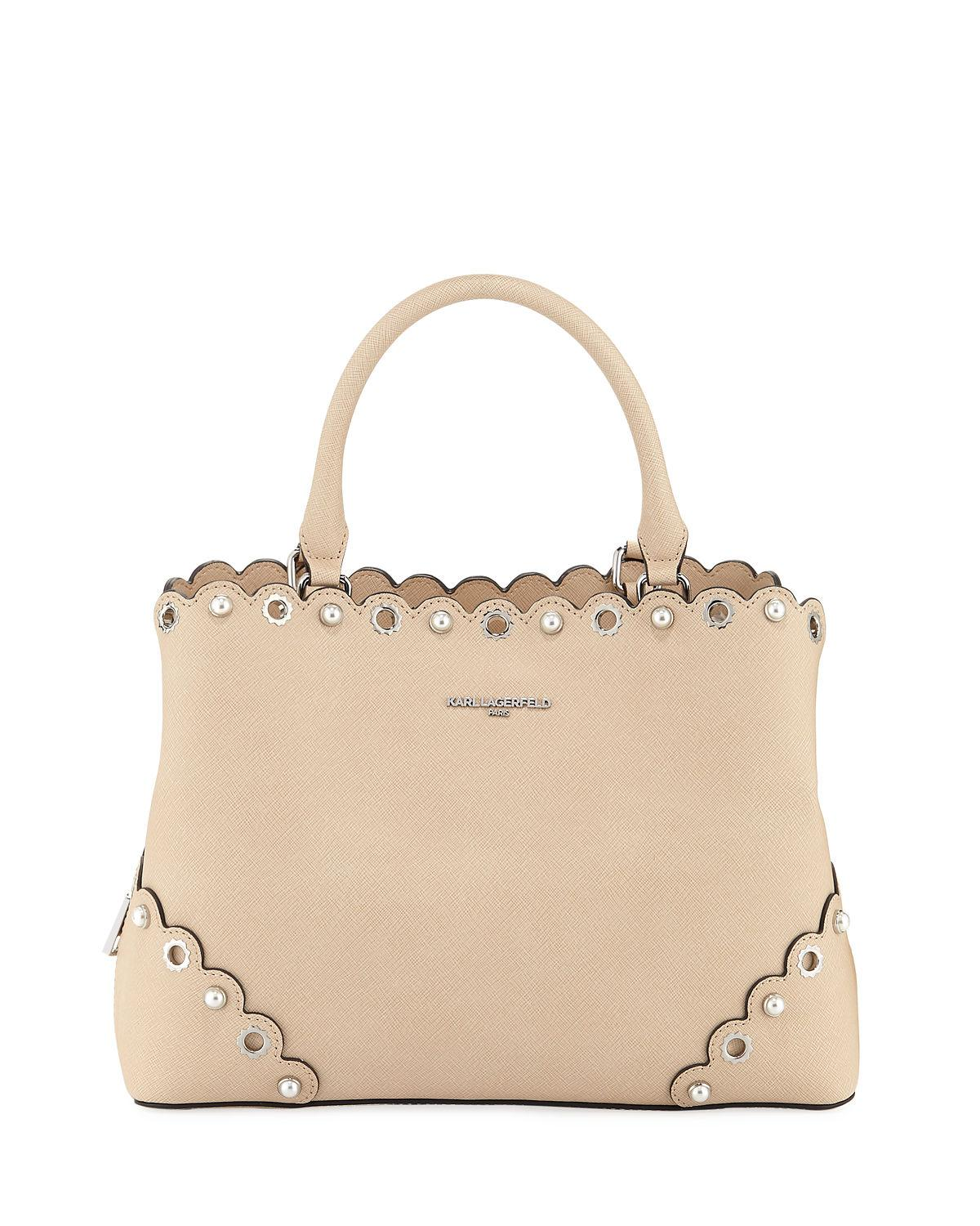 Karl Lagerfeld Elsa Saffiano Leather Satchel Bag In Sand
