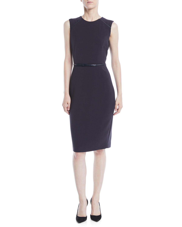 a7e3ce29a4b Max Mara Sleeveless Stretch-Wool Sheath Dress W  Leather Belt In Blue