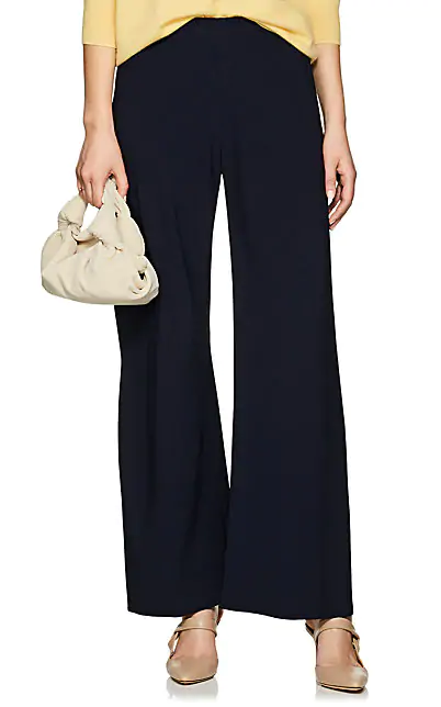 The Row Gala Stretch-Cady Wide-Leg Pants In Navy