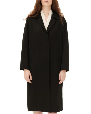 Sandro Wool Overcoat, Black, Fr 40 In Noir