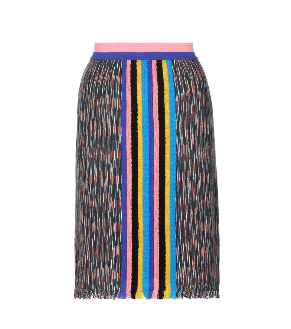 Missoni Knitted Wool-blend Skirt In Multicoloured