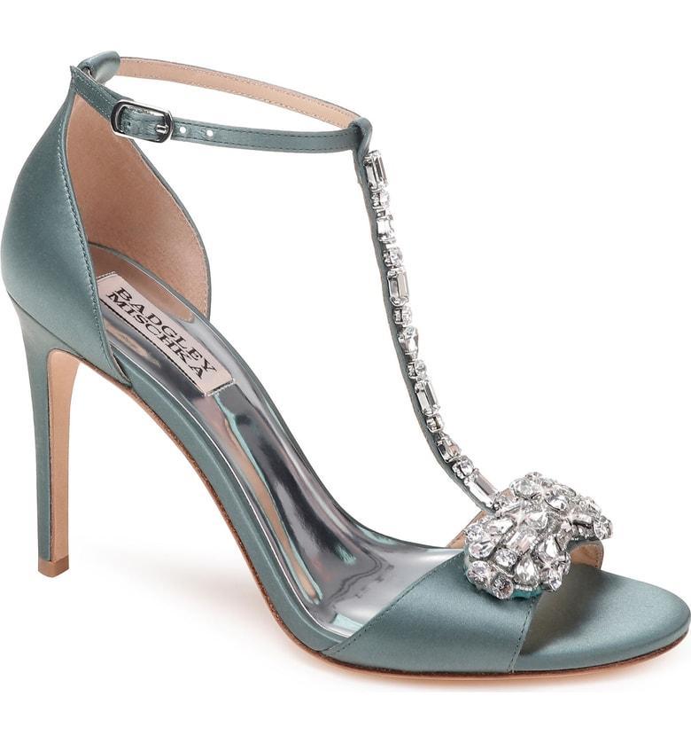 Badgley Mischka Pascale T-Strap Sandal In Sage Satin