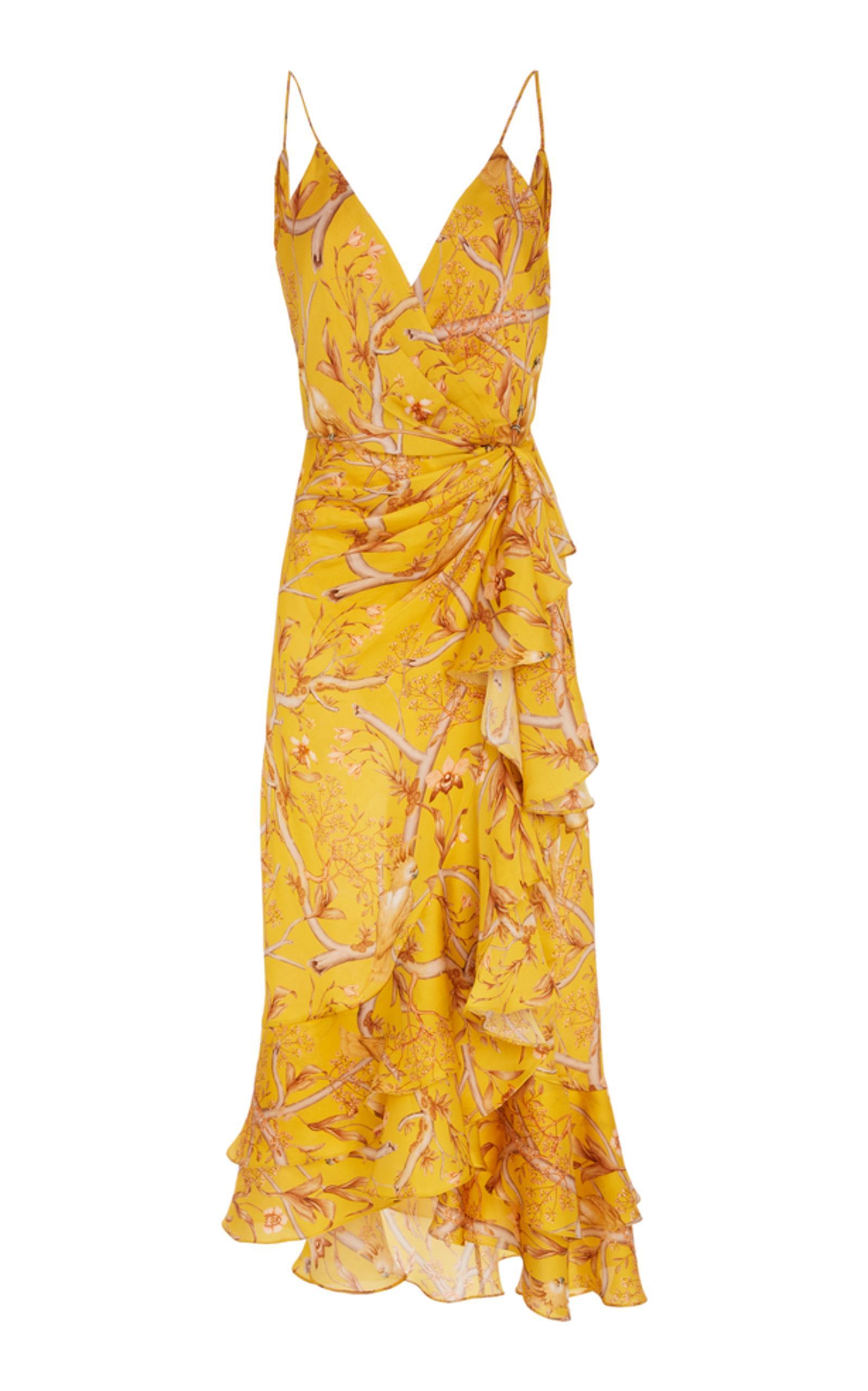 83d6cf474b8 Johanna Ortiz Milagro De Miel Wrap-Effect Printed Dress In Yellow ...