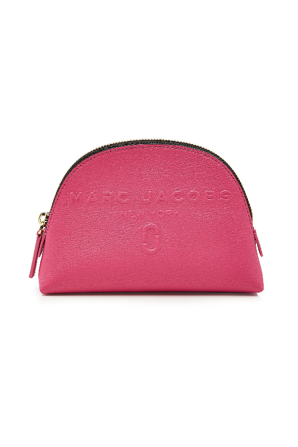 Marc Jacobs Dome Leather Cosmetic Case In Magenta