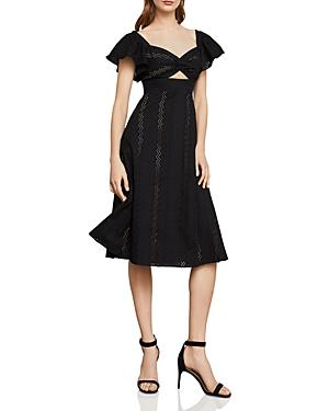 6ad95d614a Bcbgmaxazria Eyelet Fit-And-Flare Midi Dress In Black | ModeSens