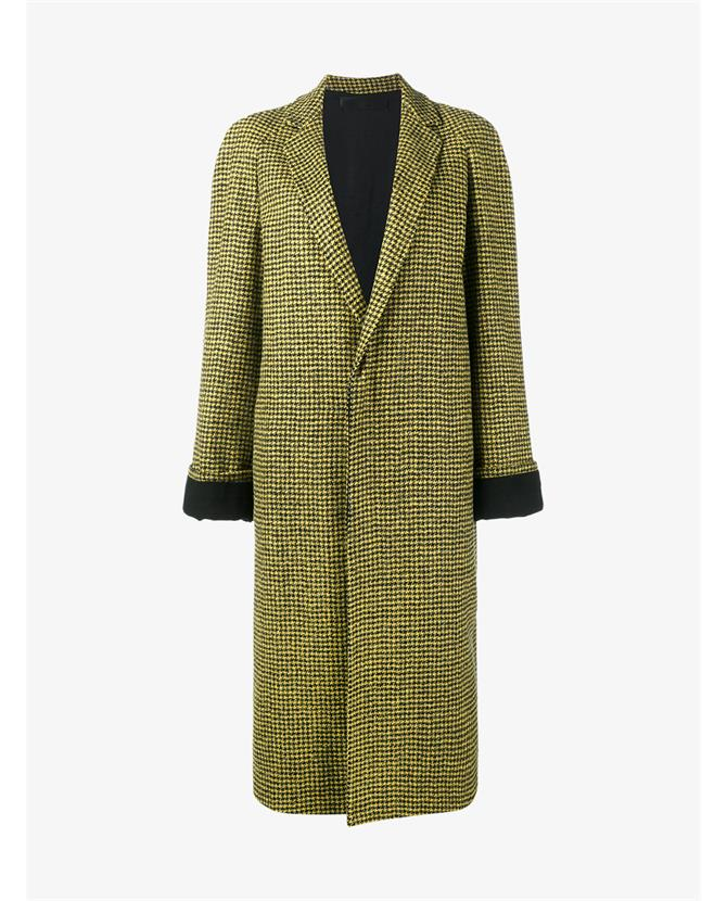 Haider Ackermann Houndstooth Virgin Wool Alpaca-blend Coat In Giallo