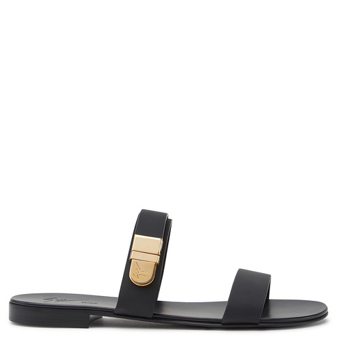 Giuseppe Zanotti - Black Sandal With Gold Detail Carter
