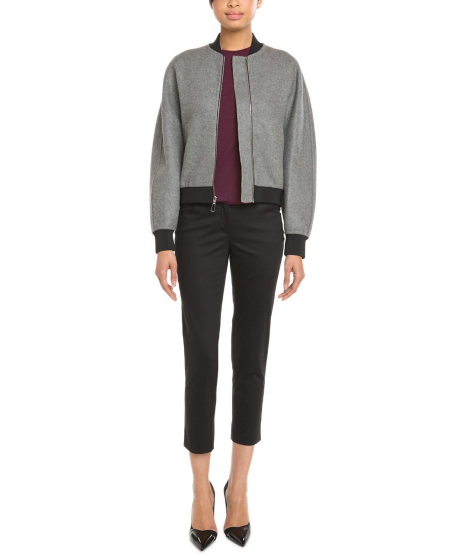Balenciaga Grey & Black Reversible Wool Blend Bomber Jacket