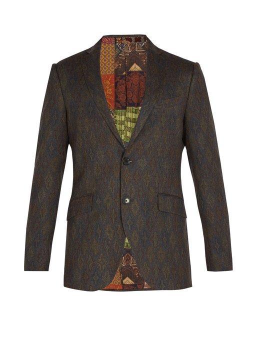 Etro Jacquard Wool Blazer In Brown