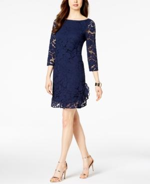Ruffled Lace Dress In Navy