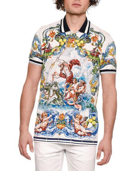 82091bf21126 Dolce   Gabbana Men s Maiolica Tile-Print Polo Shirt In Majolica Print