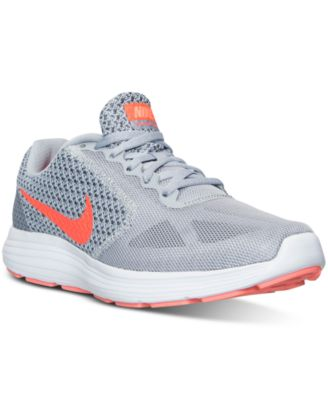 Nike Women's Revolution 3 Running Sneakers From Finish Line In Wolf Grey/hyper Orange/co