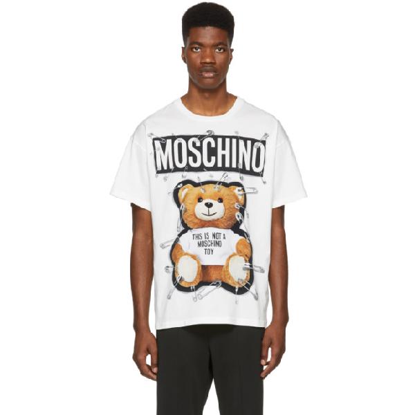 e5b362fc5 Moschino Safety Pin Teddy Bear Print T-Shirt In V1002 White   ModeSens