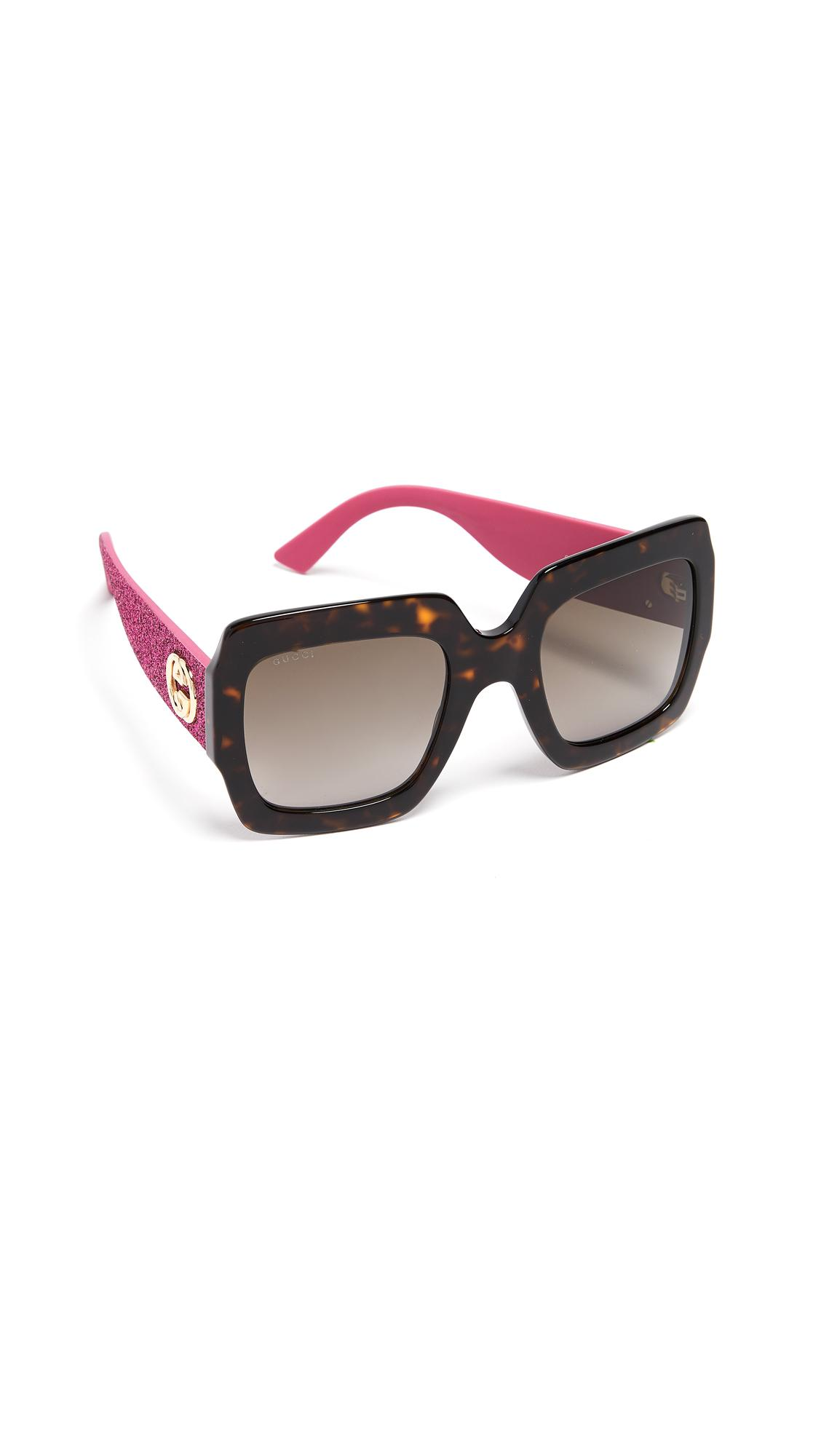 Gucci Pop Glitter Iconic Oversized Square Sunglasses In Dark Havana Glitter Pink/Brown
