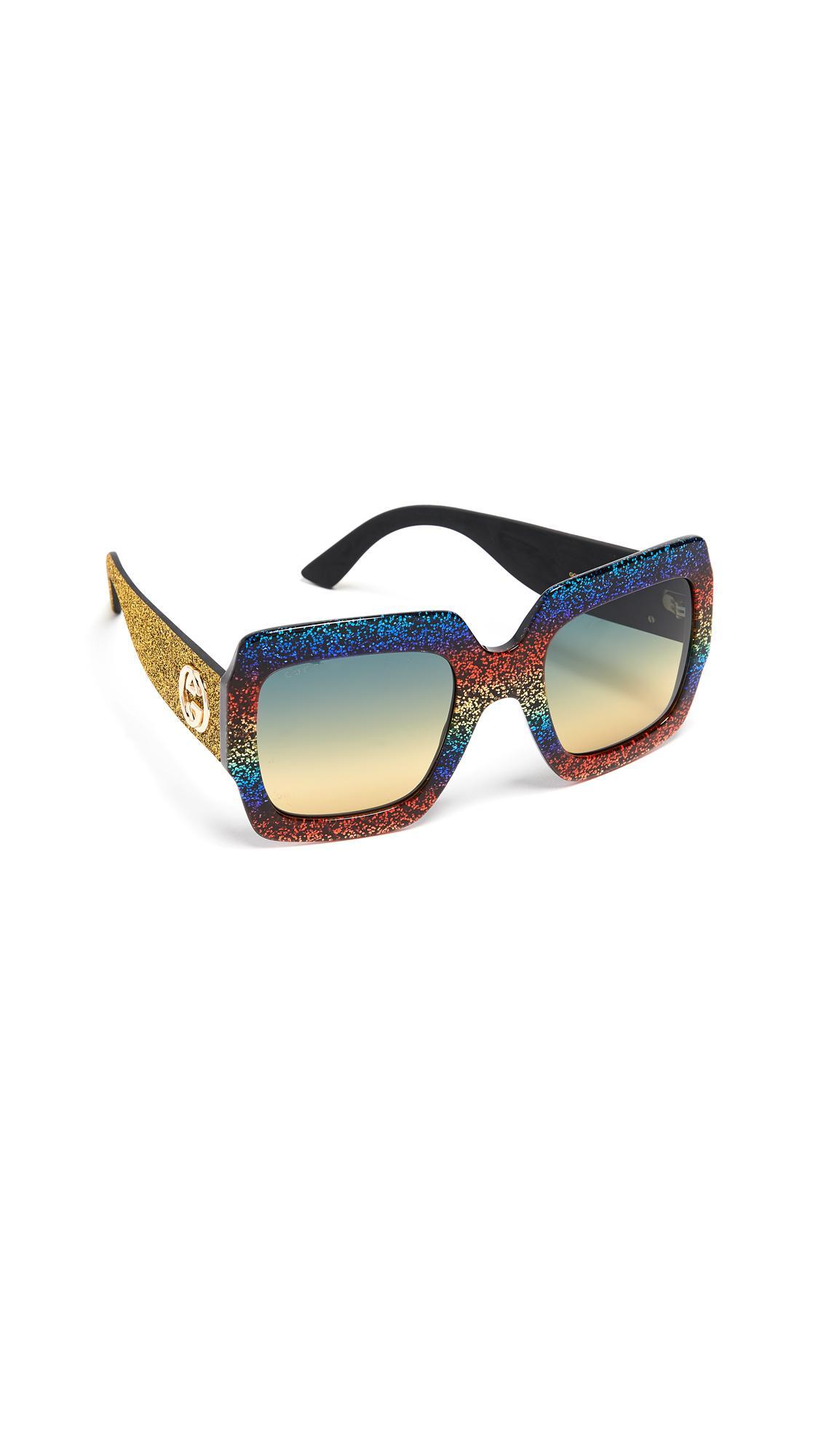 Gucci Pop Glitter Iconic Oversized Square Sunglasses In Glitter Rainbow Gold/Grey