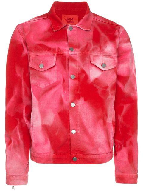 424 Bleach Print Denim Jacket - Red