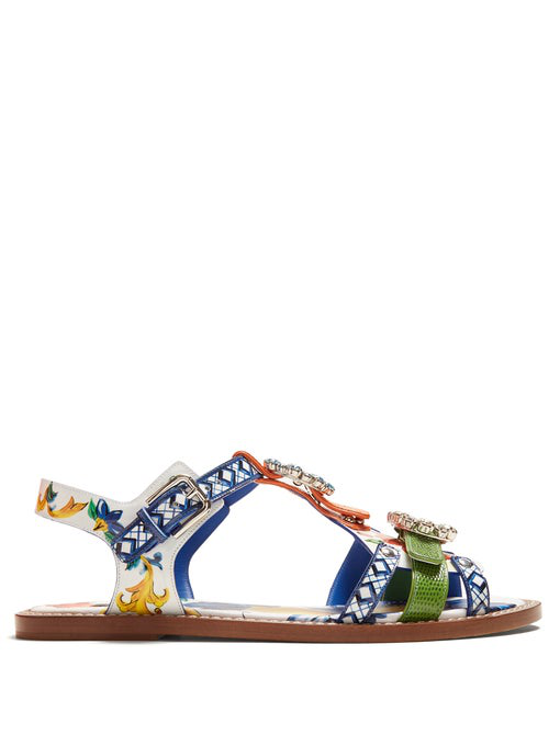 Dolce & Gabbana Printed Patent Leather Sandals With Bejeweled Buckles In Blue