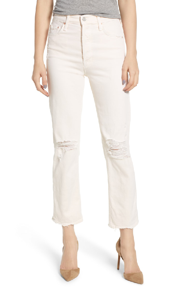 99513fa210 Mother The Tomcat Chew Ripped Crop High Waist Jeans In Peach | ModeSens