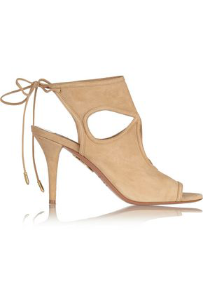 Aquazzura Woman Sexy Thing Cutout Suede Sandals Sand