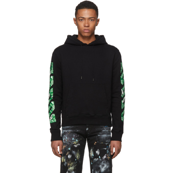 413170abcc6 Off-White Ssense Exclusive Black 3D Diag Hoodie In Black Green ...