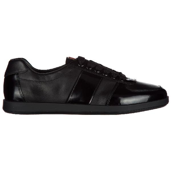 5230703bbcf21 Prada Herrenschuhe Herren Leder Schuhe Sneakers Plume Spazzolato In Black