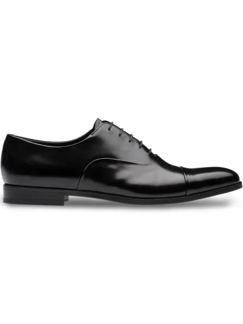 Prada Men's Classic Leather Lace Up Laced Formal Shoes Derby In Black