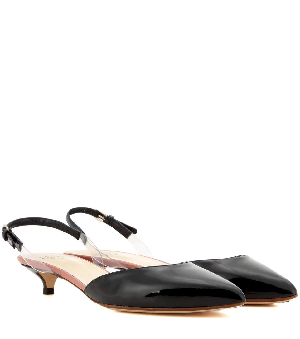 Francesco Russo Patent Leather Slingback Pumps In Eero