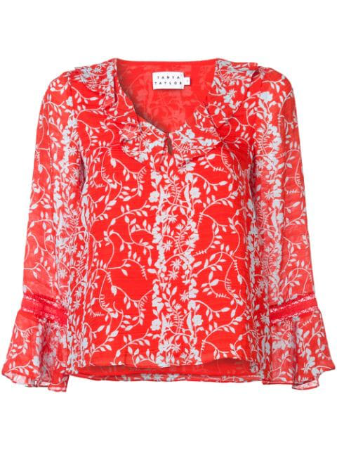 Tanya Taylor Staci Floral Vines Bell-Sleeve Top In Red