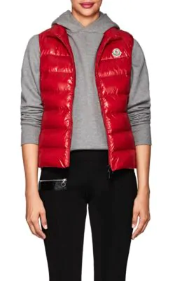 1a335d509 Ghany Shiny Quilted Puffer Vest in Red