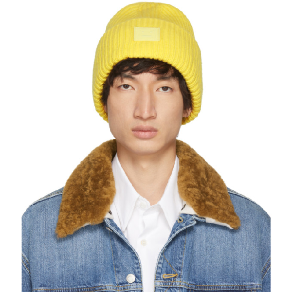 0562bace92ffa Acne Studios Pansy Face Yellow Wool Beanie In Paleylw