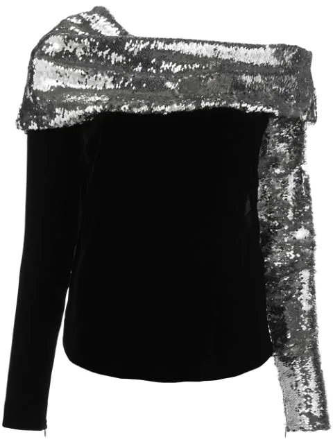 Monse One-shoulder Sequined Crepe And Velvet Top In Black ,silver