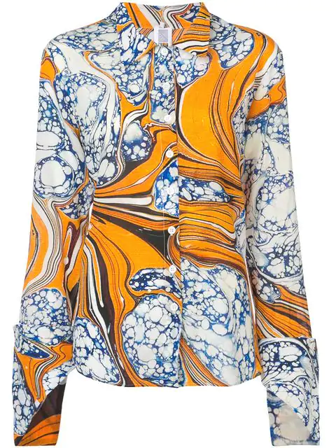 655ce26ce92afd Rosie Assoulin Printed Silk-Blend Crepe De Chine Shirt In Yellow ...