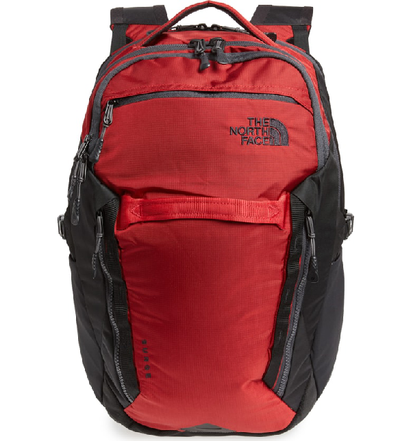 03b9b4cceee The North Face Surge Backpack In Rage Red Ripstop/ Tnf Black | ModeSens