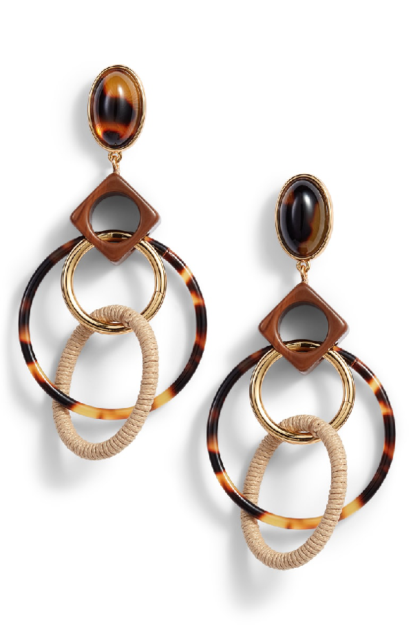 7c82e289f Tory Burch Spinning Hoop Earrings In Tortoise Multi Gold