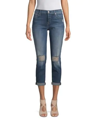 7 For All Mankind Josefina Distressed Jeans In Medium Blue