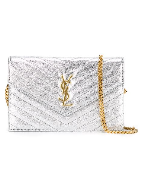 Saint Laurent Envelope Chain Wallet In Grained MatelassÉ Metallic Leather In White