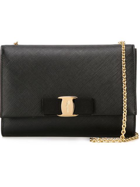 Salvatore Ferragamo Saffiano Leather Shoulder Bag, Black In Nero