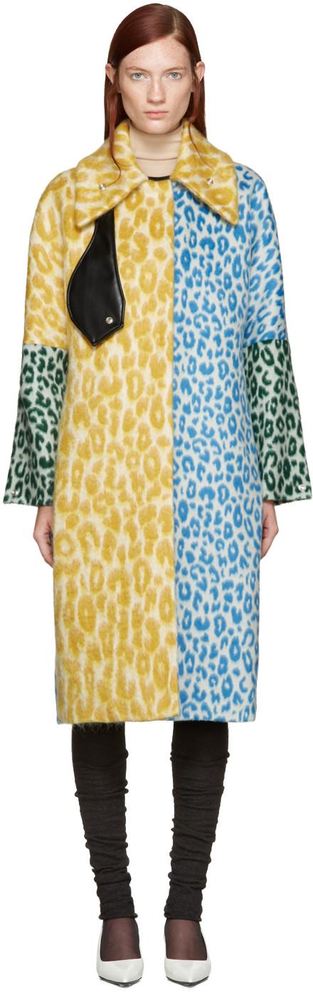 Acne Studios 'bertilyn' Patchwork Leopard Print Felted Mohair Blend Coat In Yellow