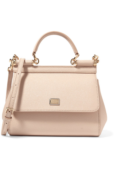 Dolce & Gabbana Sicily Small Textured-Leather Tote In Pink