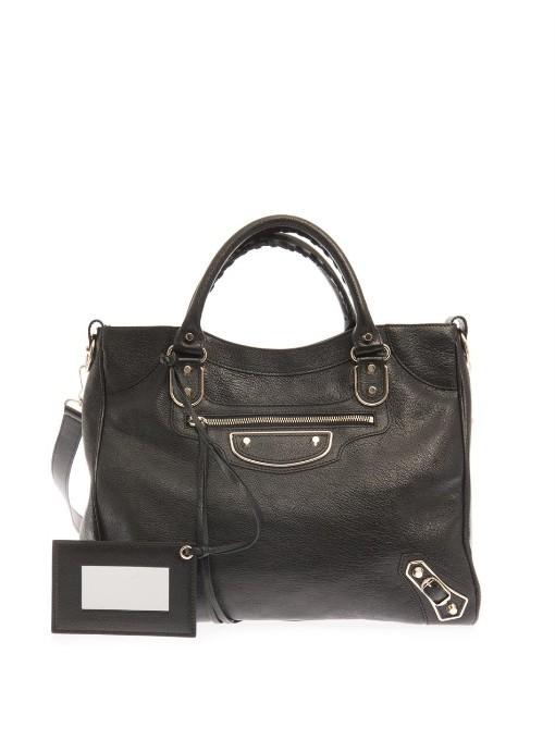 Balenciaga Classic Velo Edge-Line Leather Tote In Black