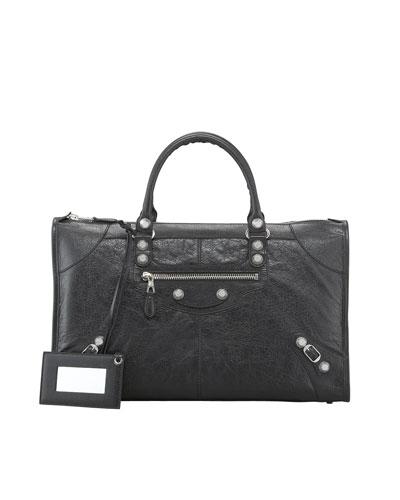 Balenciaga Giant 12 Nickel Work Bag, Black In Nero