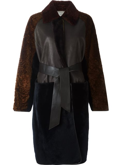 Lanvin Panelled Belt Long Coat
