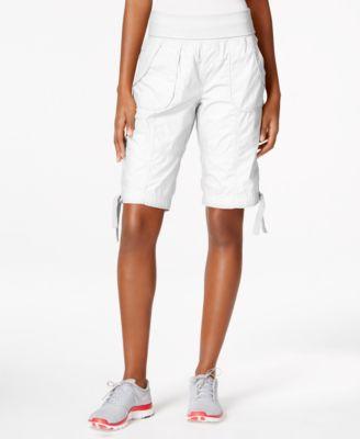 Calvin Klein Performance Cotton Pull-on Bermuda Cargo Shorts In White