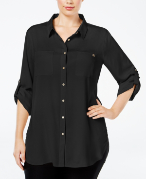 Calvin Klein Plus Size Classic Tunic Shirt In Black