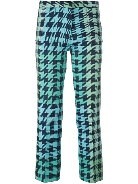 Victoria Victoria Beckham Cropped Gingham Wool-blend Straight-leg Pants In Pale Miet