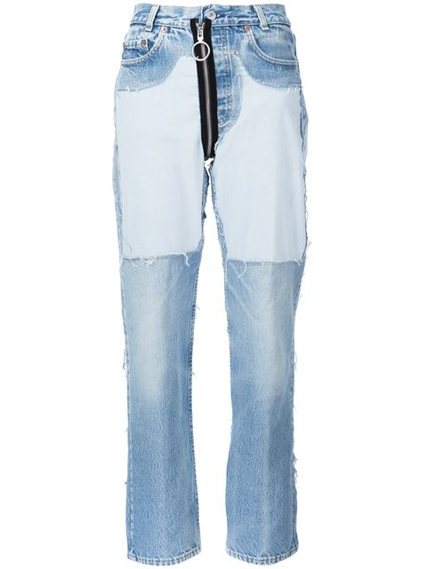 Off-white Distressed High-waist Jeans With Zipper In Blue