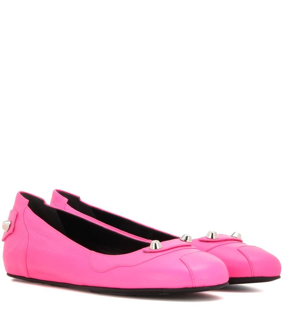 Balenciaga Classic Leather Ballerinas In Rose Fluo