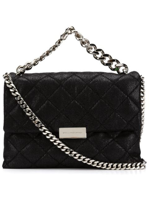 Stella Mccartney Black Quilted Shaggy Deer Small Shoulder Bag