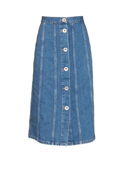 M.i.h Jeans Simone Button-down Denim Skirt In Blue